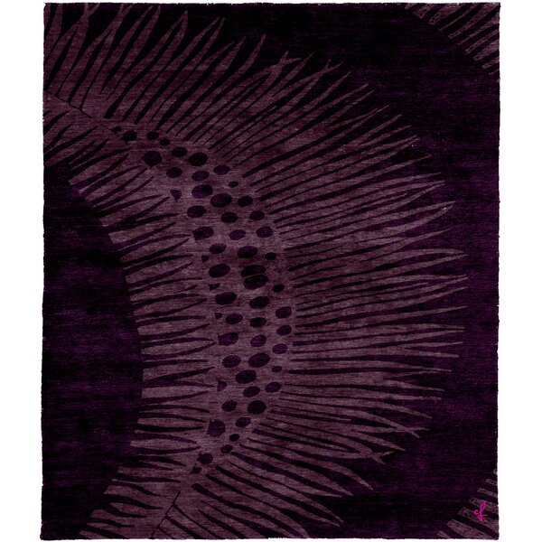 One-of-a-Kind Pamelia Hand-Knotted Traditional Style Black/Purple 6' x 9' Wool Area Rug