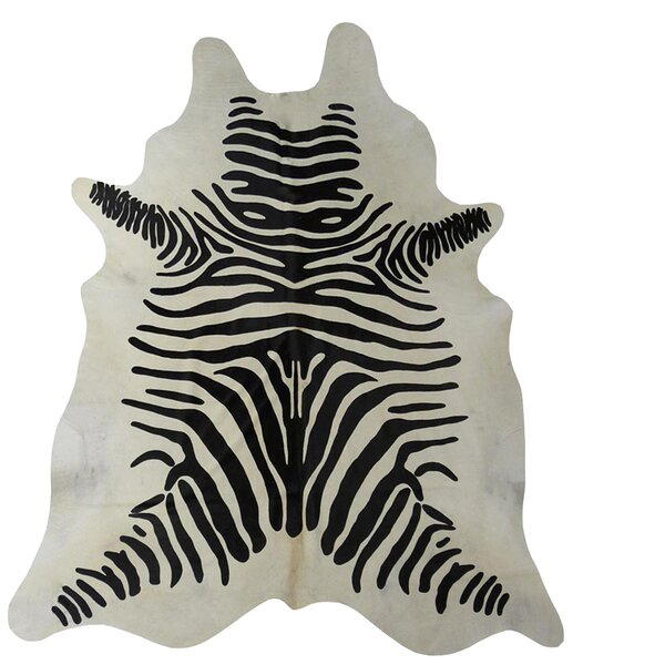 Stenciled Zebra Brazilian Cowhide Black/White Area Rug by Chesterfield Leather