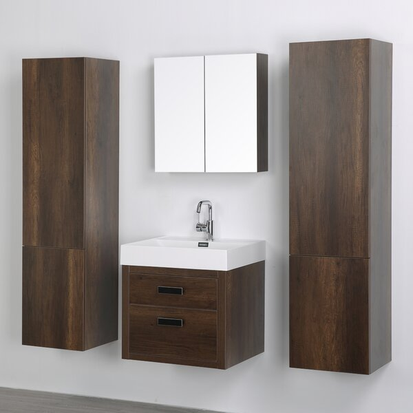 24 Wall Mounted Single Bathroom Vanity Set with Mirror by Streamline Bath