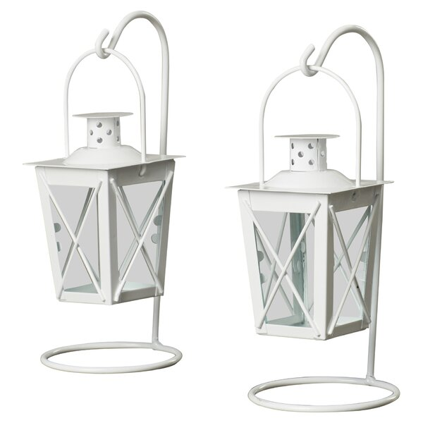 Orlando Iron and Glass Lantern (Set of 2) by Beachcrest Home