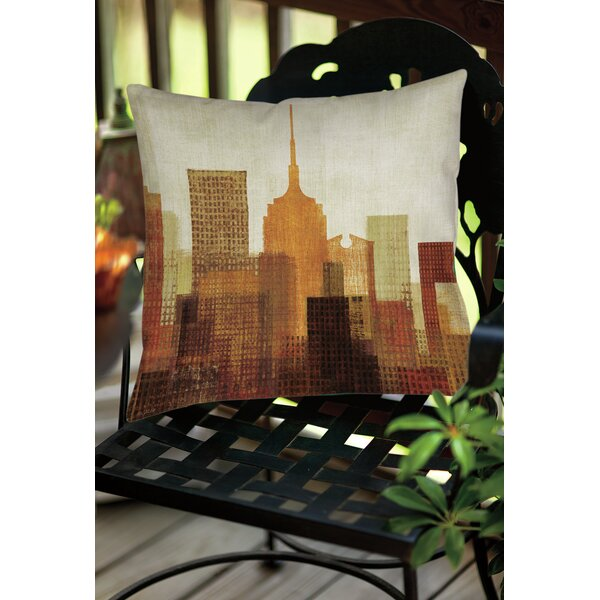 Summer in the City II Indoor/Outdoor Throw Pillow by Manual Woodworkers & Weavers