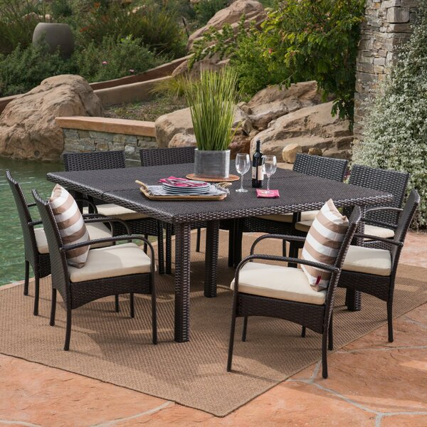 Kondo 9 Piece Dining Set with Cushions Bayou Breeze W002378934