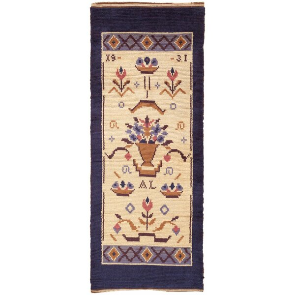 One-of-a-Kind Swedish Hand-Knotted 1950s Swedish Brown 4' x 9'7 Runner Wool Area Rug