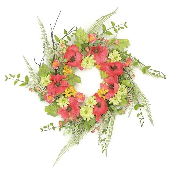 24 Poppy and Wildflowers Artificial Floral Wreath by Northlight Seasonal