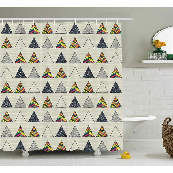 Benfer Abstract Triangle Shower Curtain by Wrought Studio