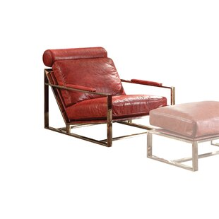 Mayes Leather Upholstered Armchair by Orren Ellis