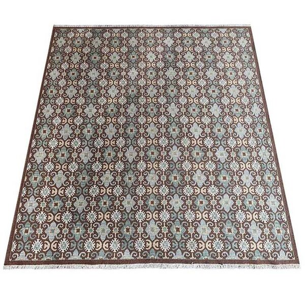 Rackers Sumak Hand-Knotted Wool Brown/Green Area Rug by World Menagerie