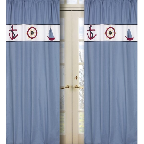 Come Sail Away Nautical Semi-Sheer Rod Pocket Curtain Panels (Set of 2) by Sweet Jojo Designs