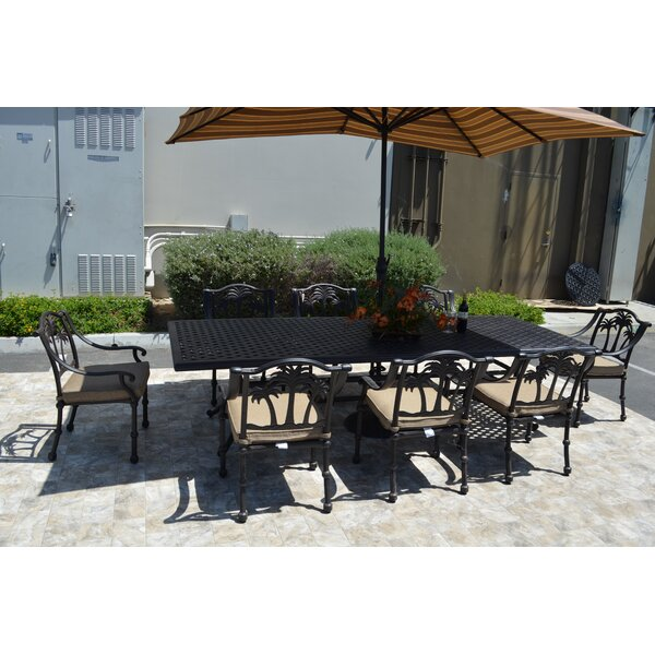 Maccharles 9 Piece Dining Set with Cushions by Bayou Breeze