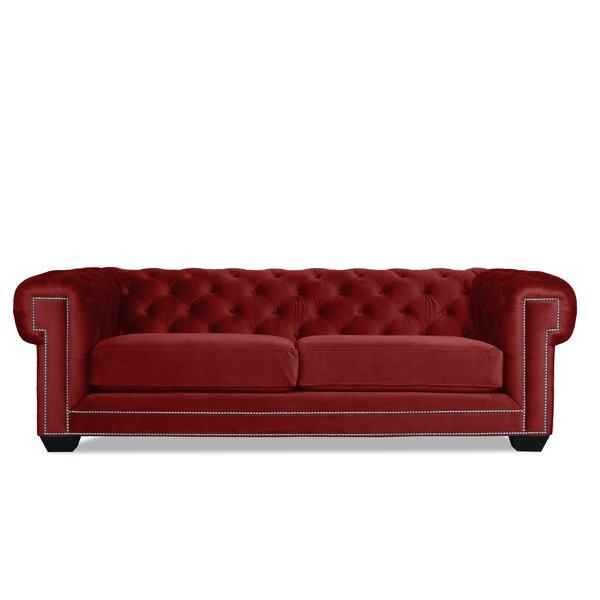 Atticus Velvet Chesterfield 90-inch Rolled Arm Sofa by Rosdorf Park Rosdorf Park
