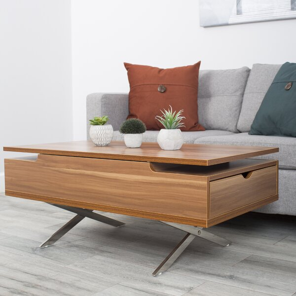 Denson Melamine Veneer Wood Hidden Storage Lift Top Coffee Table by Wrought Studio