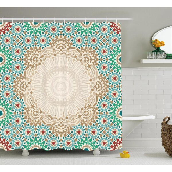 Damiane Antique Floral Mosaic Form Shower Curtain by Bungalow Rose