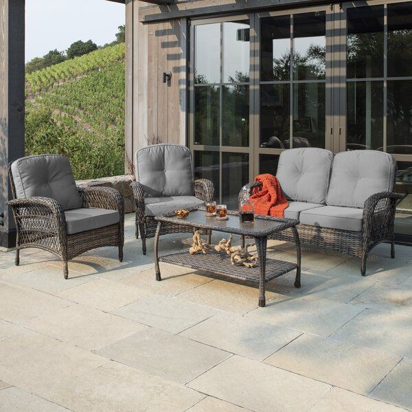 Narvaez 4 Piece Sectional Seating Group with Cushions by Alcott Hill