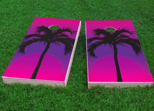 Palms at Night Cornhole Game (Set of 2) by Custom Cornhole Boards