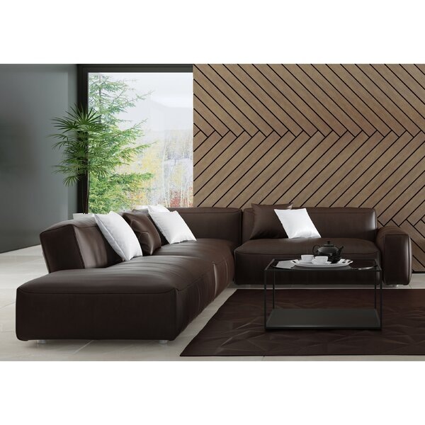 New High-quality Zoraida Right Hand Facing Leather Sectional by Orren Ellis by Orren Ellis