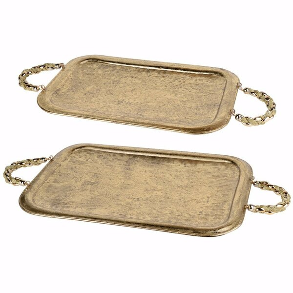 Mclain Rectangular Metal Accent Tray (Set of 2) by Bloomsbury Market