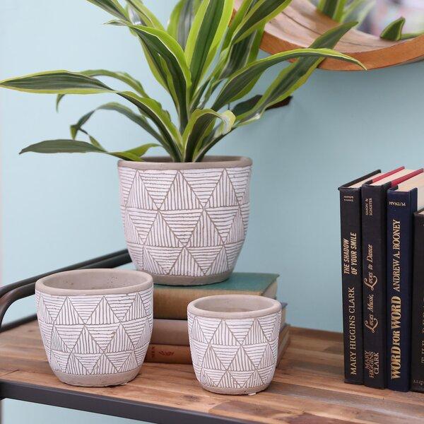 Reasor Round 3 Piece Stone Pot Planter Set by Bungalow Rose