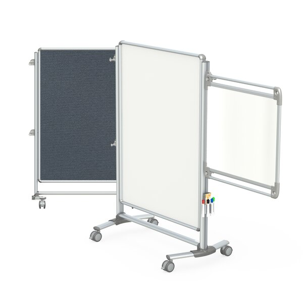 Ghent Nexus Jr. Partition, Mobile 2-Sided Porcelain Magnetic Whiteboard/ Fabric Bulletin Board by Ghent