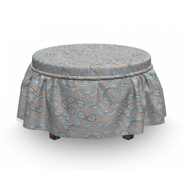 Hipster Glasses Ottoman Slipcover (Set Of 2) By East Urban Home