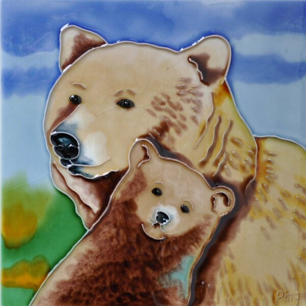 Bear Mom and Baby Tile Wall Decor by Continental Art Center