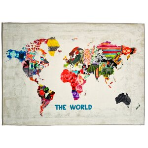 Hipster Mapa Mundi Graphic Art on Wrapped Canvas by Brayden Studio