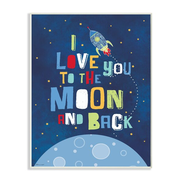 I Love You Moon and Back Rocket Ship Wall Plaque by Stupell Industries