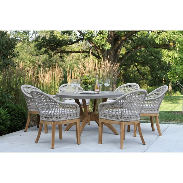 Caelan 7 Piece Teak Dining Set with Cushions by Beachcrest Home