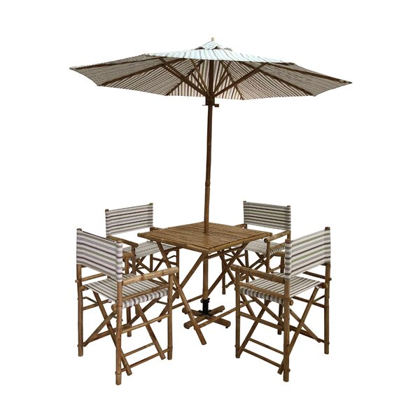 Janiyah Patio 5 Piece Dining Set with Umbrella Bayou Breeze W000938388