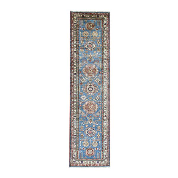 One-of-a-Kind Dorcey Super Kazak Tribal Hand-Knotted Wool Blue Area Rug by Canora Grey