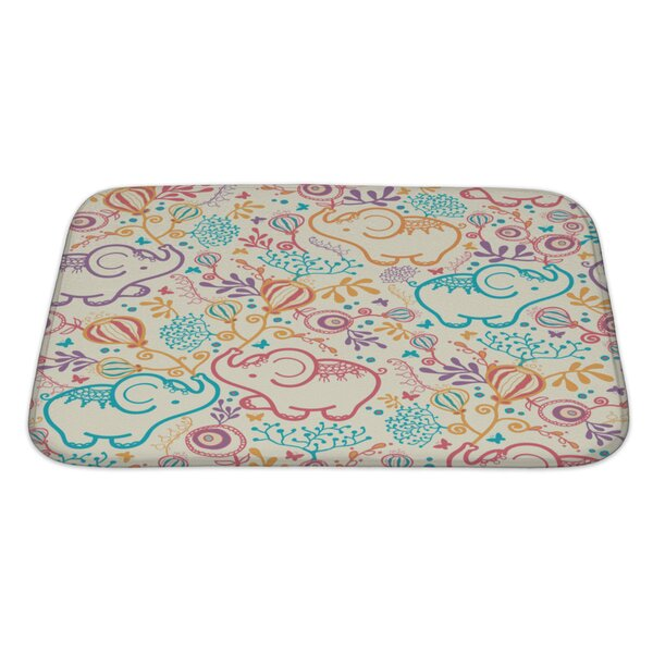 Capodanno Elephants with Flowers Rectangle Non-Slip Bath Rug