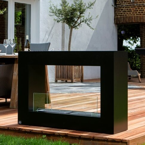 Qube Stainless Steel Bio-Ethanol Fuel Outdoor Fireplace by Bio-Blaze