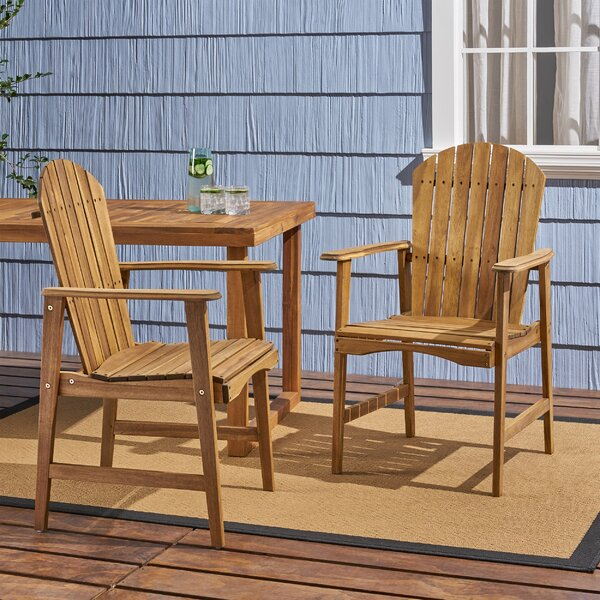 Rosalyn Outdoor Weather Resistant Adirondack Patio Dining Chair (Set of 2) by Longshore Tides