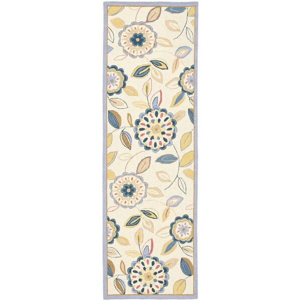 Helena Hand-Hooked Wool Ivory/Blue Area Rug by Charlton Home