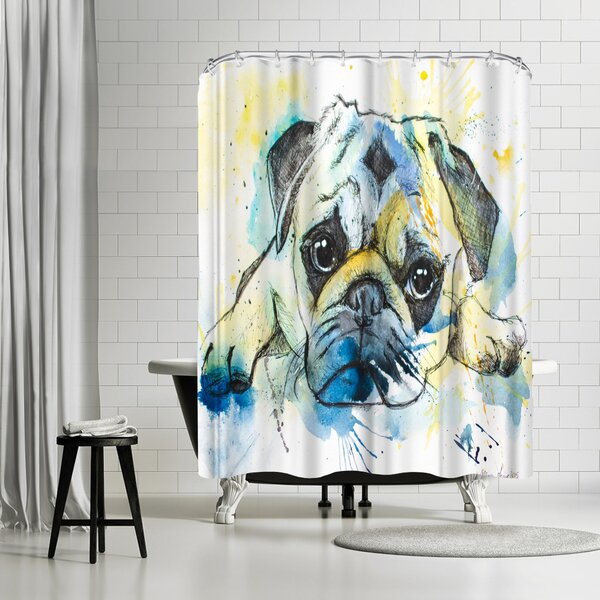 Allison Gray Pug Shower Curtain by East Urban Home