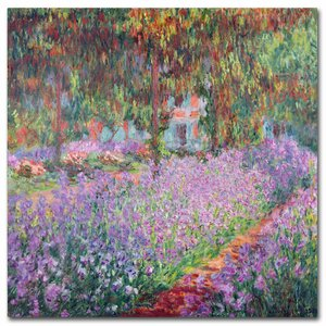 'The Artist's Garden at Giverny' by Claude Monet Painting Print on Wrapped Canvas by Trademark Fine Art
