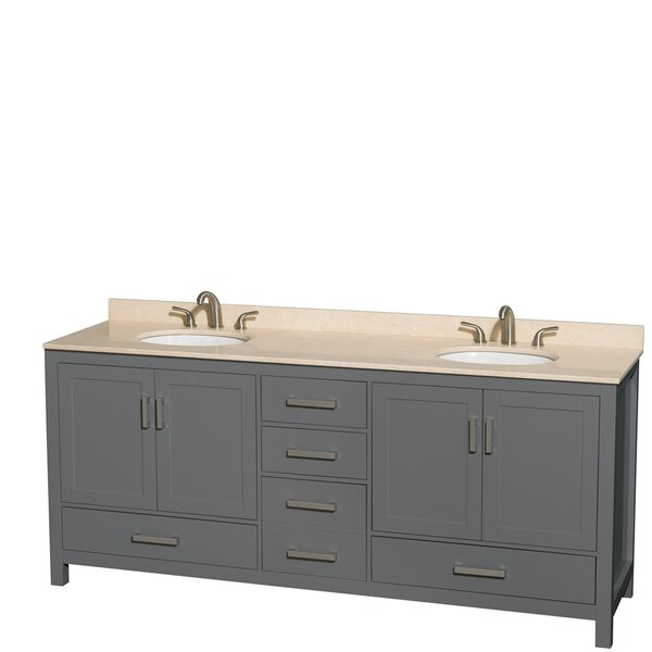 Sheffield 80 Double Dark Gray Bathroom Vanity Set by Wyndham Collection