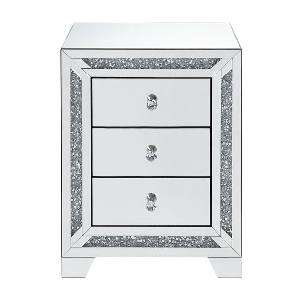 Dayne Glass Top 3 Drawer Nightstand By Rosdorf Park by Rosdorf Park Wonderful