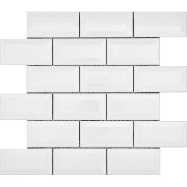 Vogue Bevel 12 x 12 Porcelain Mosaic Tile in Glossy White by Emser Tile
