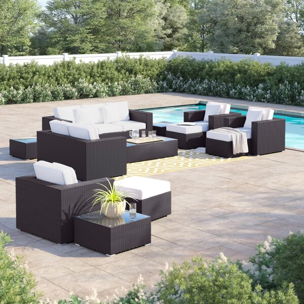 Brentwood 9 Piece Rattan Sofa Seating Group with Cushions by Sol 72 Outdoor