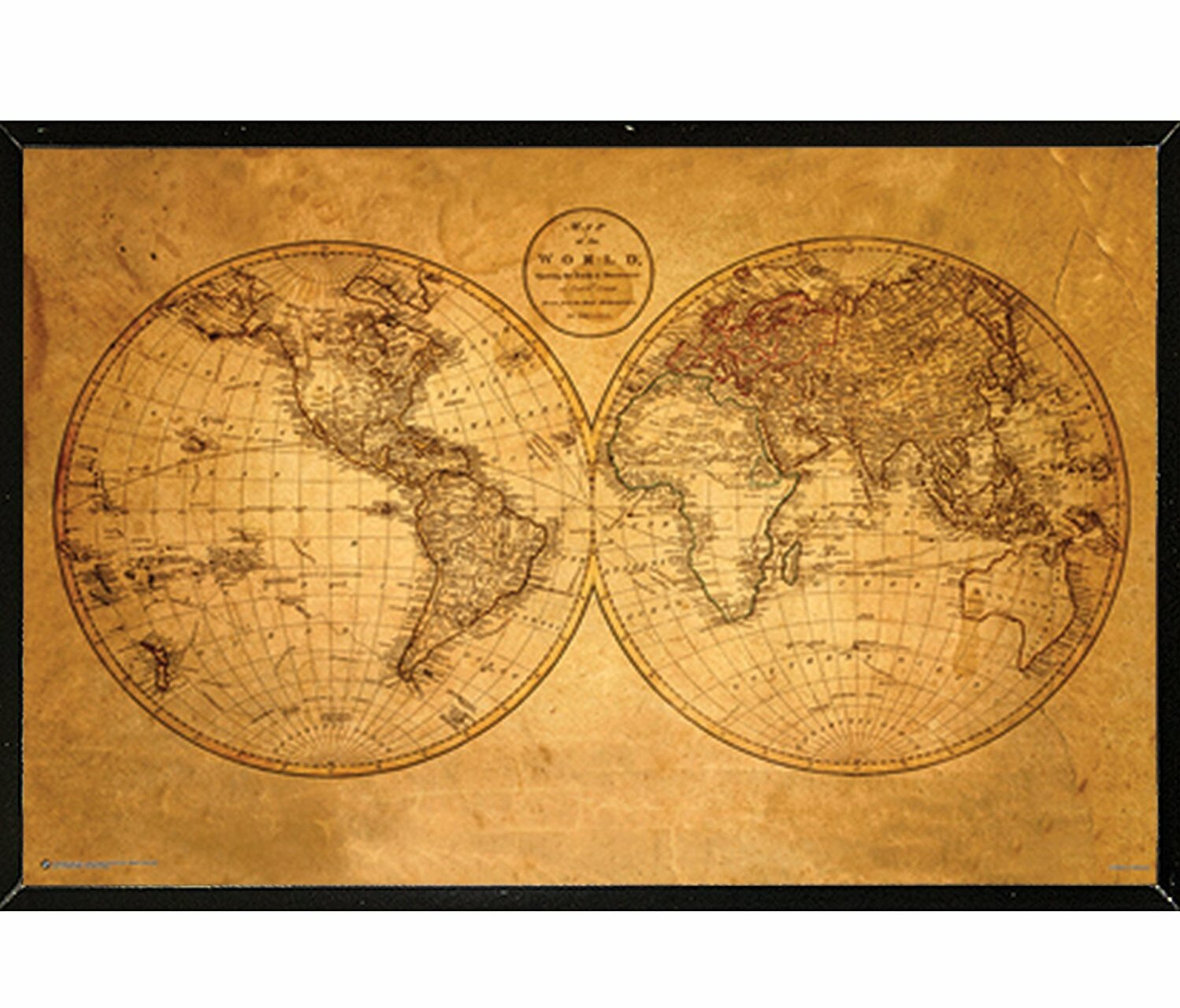 Frame Usa Old World Map Framed Graphic Art Print Poster Wayfair