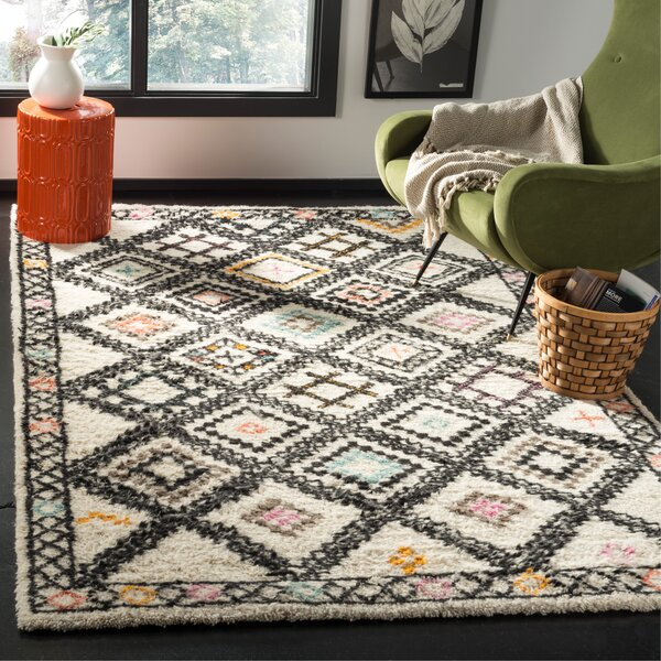 Glenoe Hand-Woven Ivory/Gray/Orange Area Rug by Bloomsbury Market