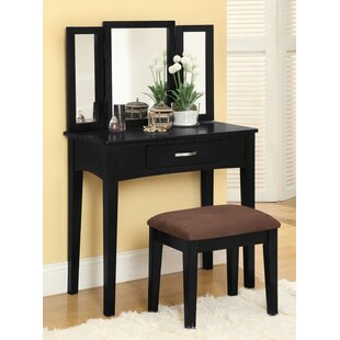 Shop For Luisa Vanity with Mirror and Stool Set ByHokku Designs