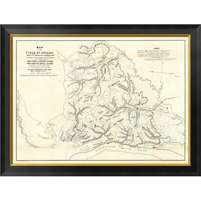 """Civil War Map of The Field of Shiloh, Near Pittsburgh Landing, Tennessee, 1862 by Otto H. Matz Framed Graphic Art on Canvas Global Gallery Size: 16"""""""" H -  GCF-295148-16-131"""