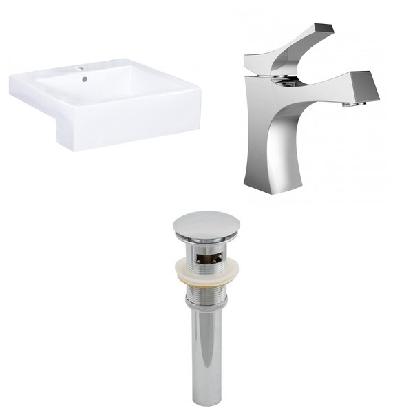 20.25-in. W Semi-Recessed White Vessel Set For 1 Hole Center Faucet - Faucet Included by American Imaginations