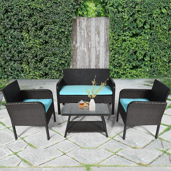 Darielle Patio 4 Piece Rattan Sofa Seating Group with Cushions by Latitude Run