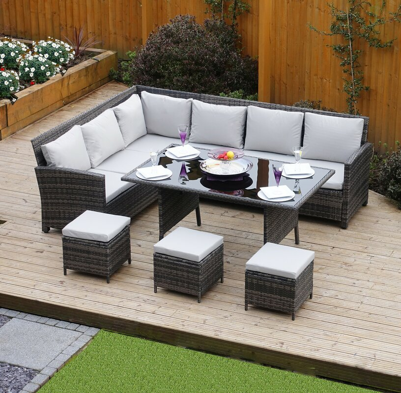 Hokku designs 9 seater rattan sofa set with cushions for 9 seater sofa set designs