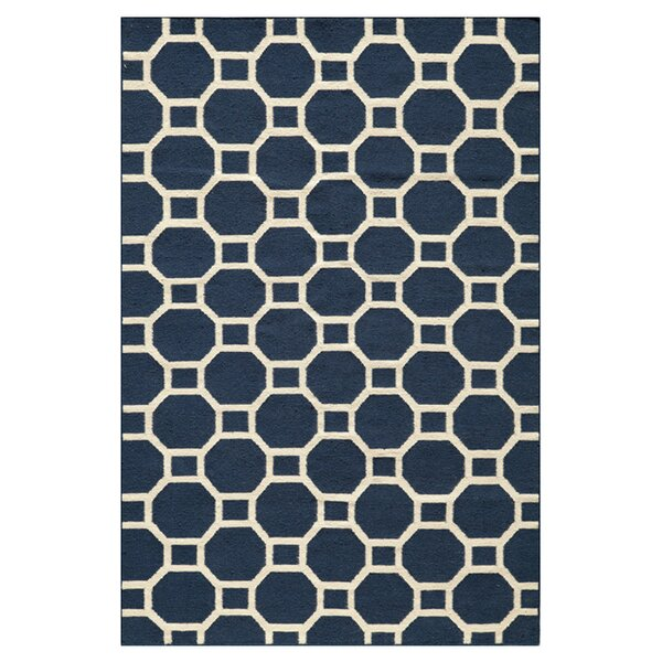 Aliz Hand-Woven Navy Area Rug by Highland Dunes