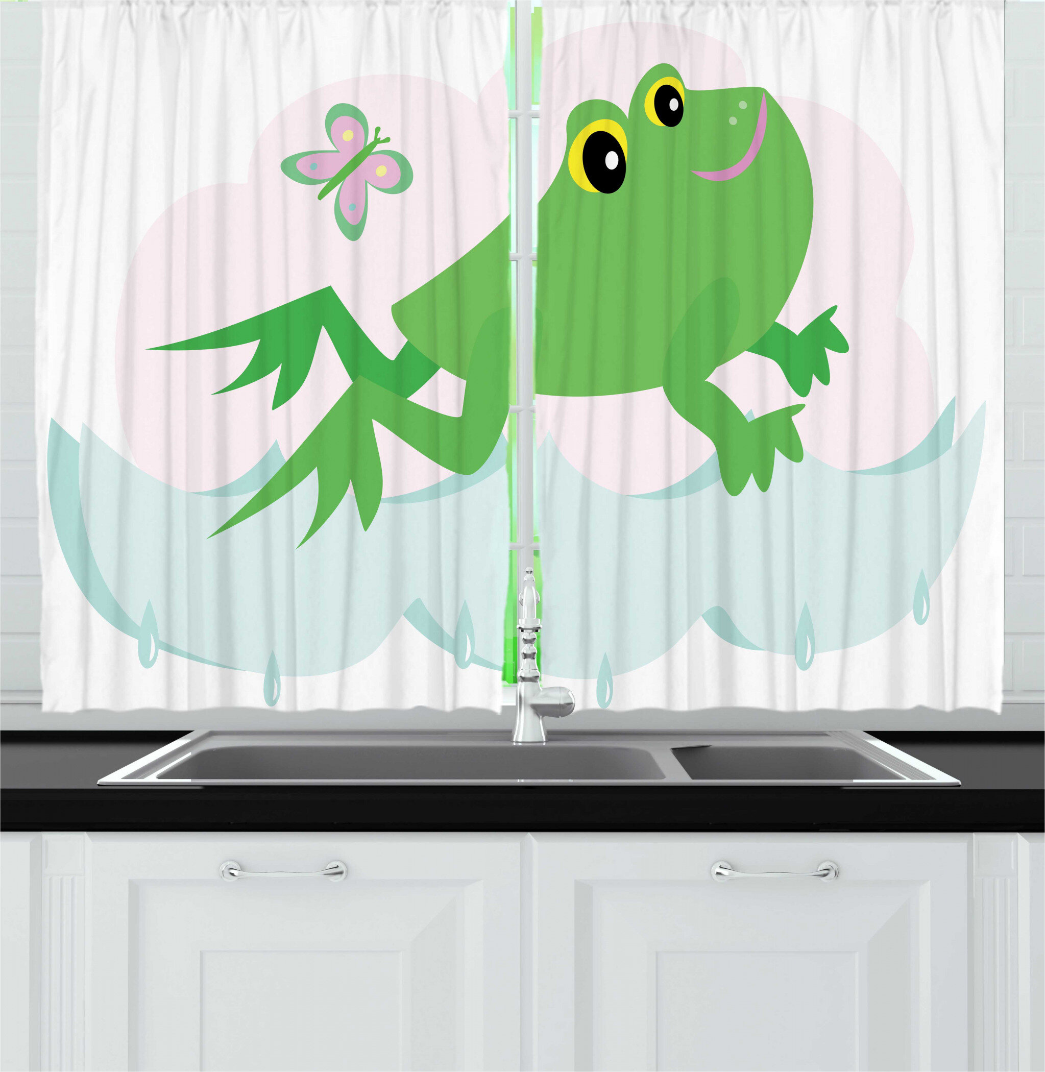 East Urban Home 2 Piece Frogs Nursery Themed Jumping Amphibian Animal With Butterfly Kitchen Curtain Set Wayfair