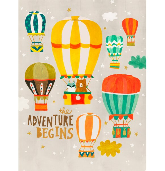 Bear and Raccoon Balloon Ride by Irene Chan Canvas Art by Oopsy Daisy