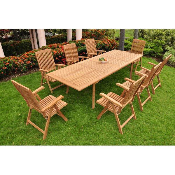 Devonte Luxurious 9 Piece Teak Dining Set by Rosecliff Heights